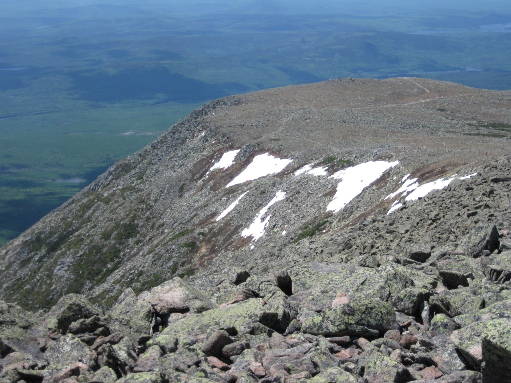 view of Hunt Trail from Summit, Mt. Katahdin, Baxter State Park, ME, May 30, 2010.