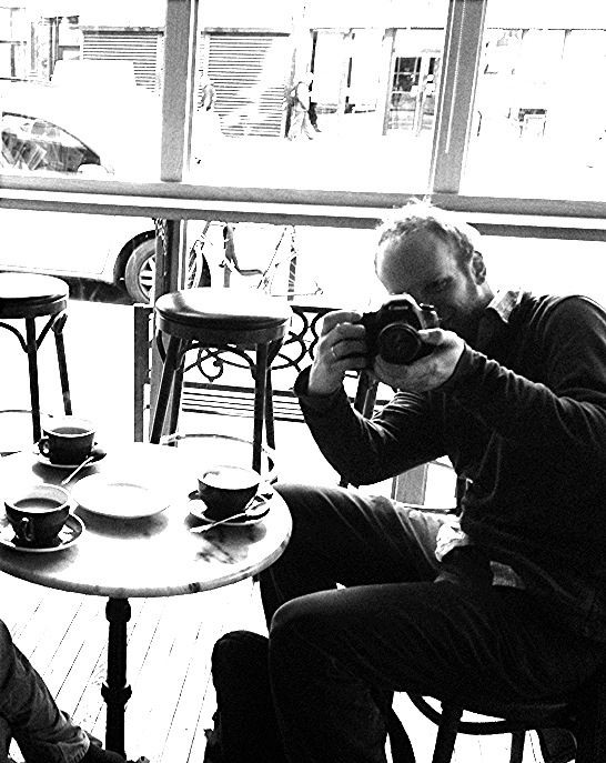 In New York City cafe in Chelsea after an early AM film shoot. Photograph taken by Nichole Hastings.