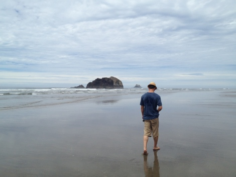 A friend going through a divorce,  lost in thought, while strolling along a West coast beach after two week of driving from East coast Vermont.