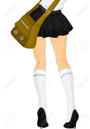 15067784-Cropped-Illustration-Featuring-the-Legs-of-a-School-Girl-Wearing-a-Short-Skirt-and-Knee-high-Socks-Stock-Illustration